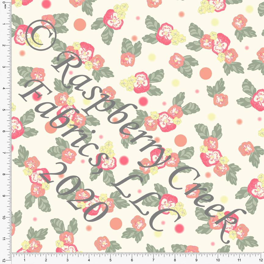 Coral Fuchsia Yellow Sage and Cream Spring Pansy Print Double Brushed Poly Knit Fabric, By Elise Peterson for CLUB Fabrics Raspberry Creek Fabrics