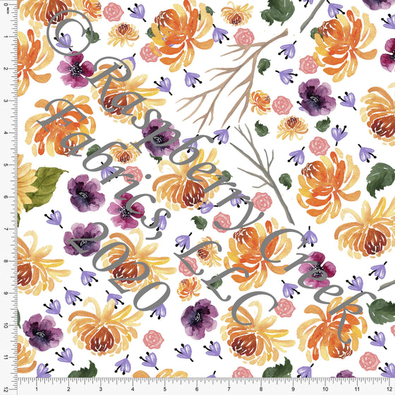 Orange Lilac Eggplant Yellow and Olive Build Your Own Crown Floral, Spooky Cute By Bri Powell for Club Fabrics - Raspberry Creek Fabrics