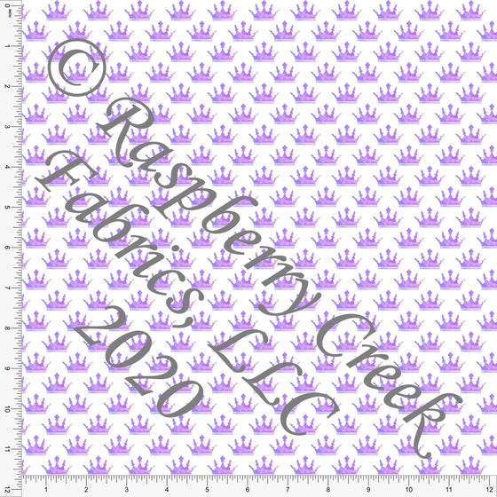 Tonal Purple Watercolor Princess Crown Print Double Brushed Poly Knit Fabric, Fairytales by Elise Peterson for CLUB Fabrics - Raspberry Creek Fabrics