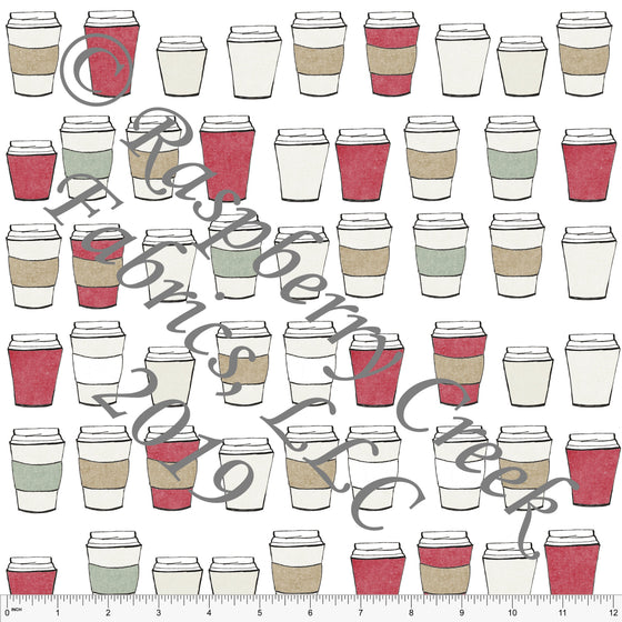 Red Sage Green and Tan Coffee Cocoa Cozy Cups by Bri Powell for Club Fabrics - Raspberry Creek Fabrics