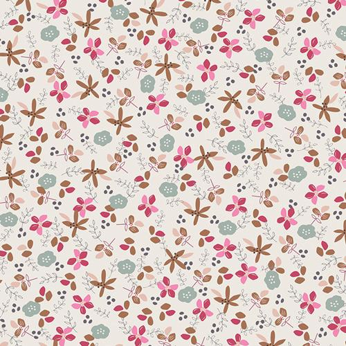 Magenta Pink Tan and Grey Floral Jersey Knit, Dollhouse by Amy Sinibaldi for Art Gallery, Jolie in Fresh, 1 yard