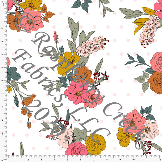 Salmon Coral Mustard Sage and Burgundy Floral, Daisy Fox by Kimberly Henrie for Club Fabrics - Raspberry Creek Fabrics