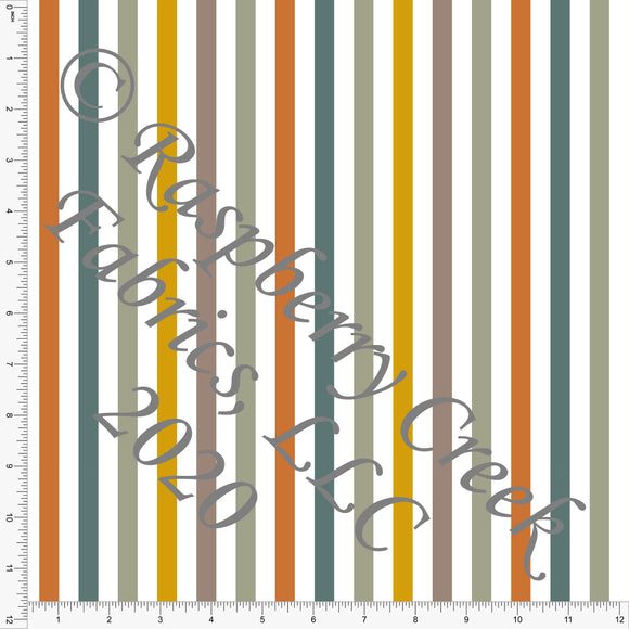 Rust Sage and Mustard Vertical Stripe, Daisy Fox by Kimberly Henrie for Club Fabrics - Raspberry Creek Fabrics