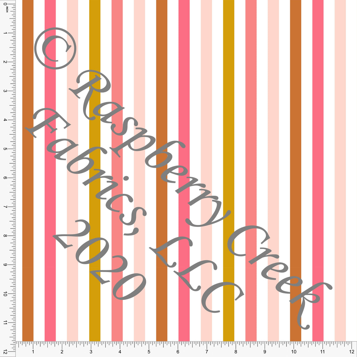Pink Peach Rust and Mustard Vertical Stripe, Daisy Fox by Kimberly Henrie for Club Fabrics - Raspberry Creek Fabrics