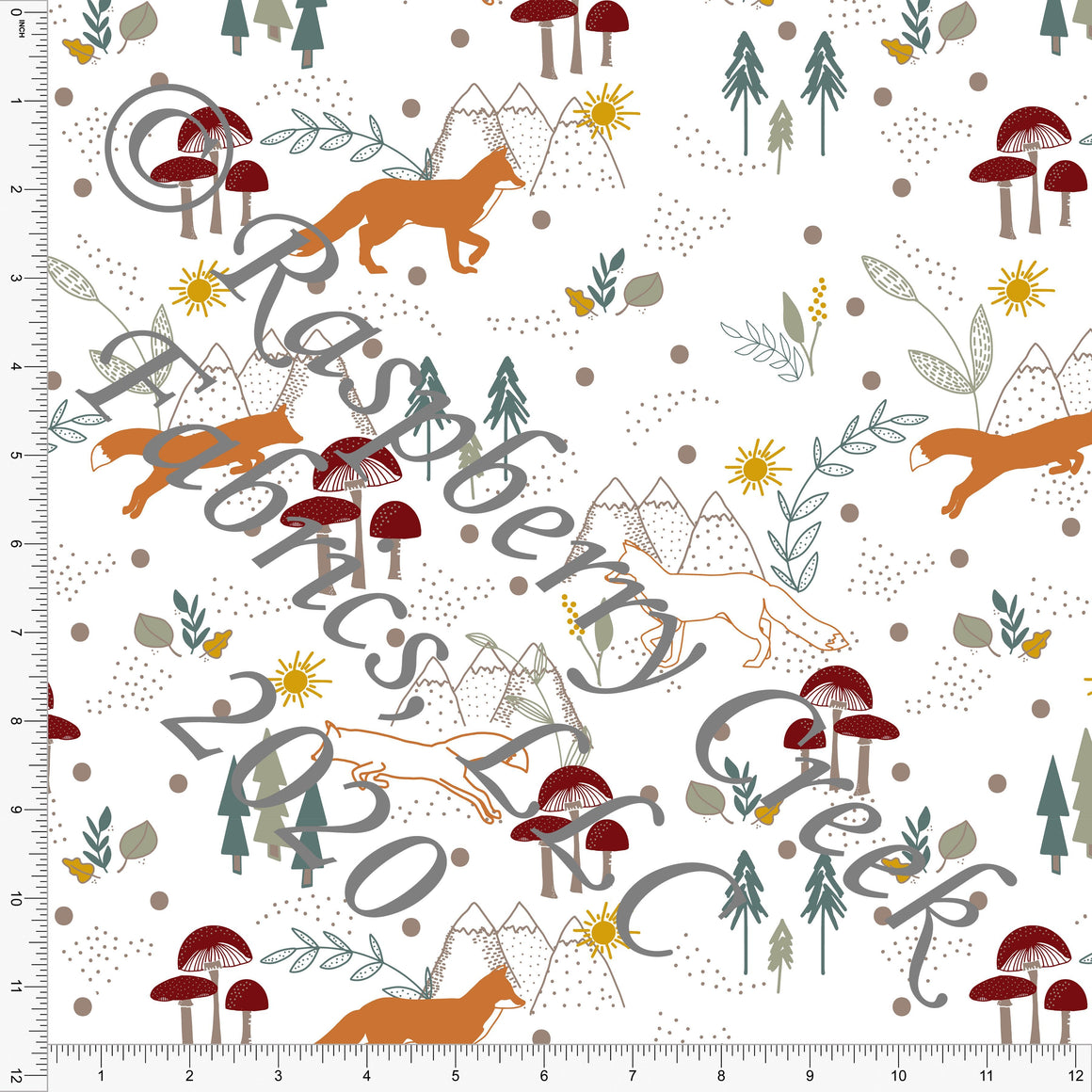 Rust Burgundy Sage and Mustard Fox Mountain and Mushrooms, Daisy Fox by Kimberly Henrie for Club Fabrics - Raspberry Creek Fabrics