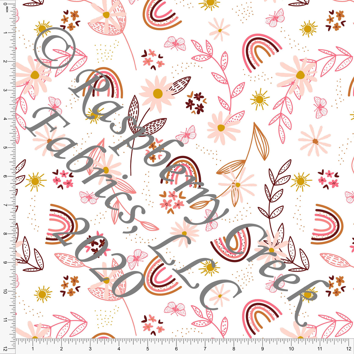 Pink Peach Burgundy Rust and Mustard Rainbow Floral, Daisy Fox by Kimberly Henrie for Club Fabrics - Raspberry Creek Fabrics