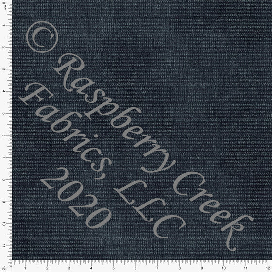 Deep Indigo Blue Faux Denim Print Double Brushed Poly Knit Fabric, Faux Denim by Tonya Knowlden for CLUB Fabrics - Raspberry Creek Fabrics