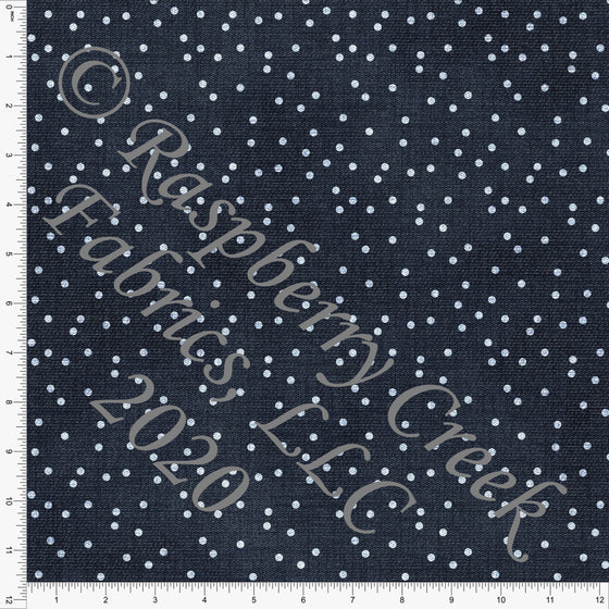 Deep Indigo Blue Polka Dot Faux Denim Print Double Brushed Poly Knit Fabric, Faux Denim by Tonya Knowlden for CLUB Fabrics - Raspberry Creek Fabrics