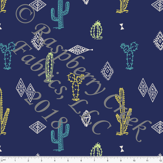 Navy Blue Green Yellow and Teal Cactus 4 Way Stretch MATTE SWIM Knit Fabric, By Kim Henrie For Club Fabrics