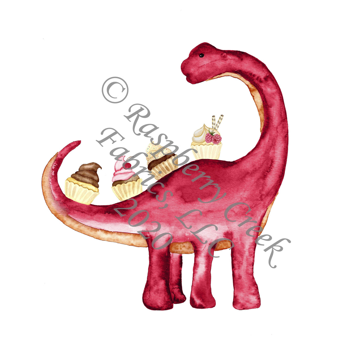 Red Pink and Tan Cupcake Dino Panel, Summer Treats By Brittney Laidlaw for Club Fabrics - Raspberry Creek Fabrics