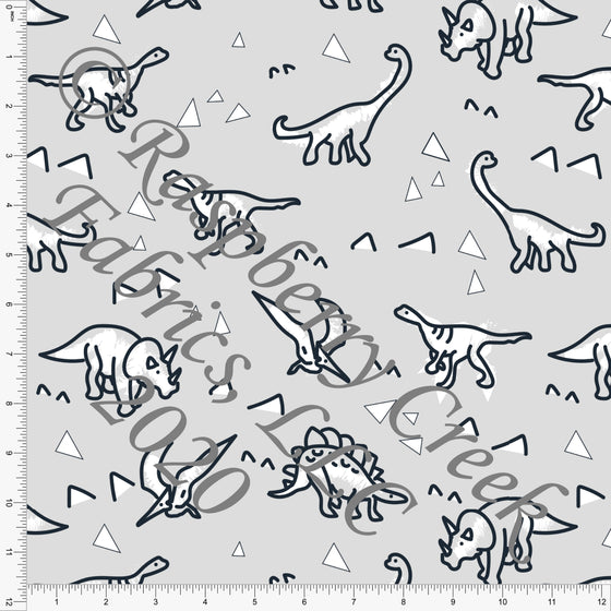 Light Grey Black and White Dino Triangle Print Double Brushed Poly Knit Fabric, By Karly Nelson for CLUB Fabrics - Raspberry Creek Fabrics