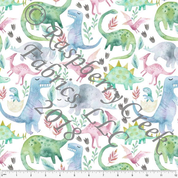 Green Blue Grey and Pink Dinosaur 4 Way Stretch Jersey Knit Fabric, Watercolor Animals by Ella Randall for Club Fabrics