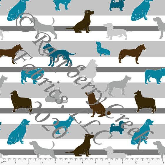 Teal Brown and Grey Dog Stripe Print Double Brushed Poly Knit Fabric, By Elise Peterson for CLUB Fabrics - Raspberry Creek Fabrics