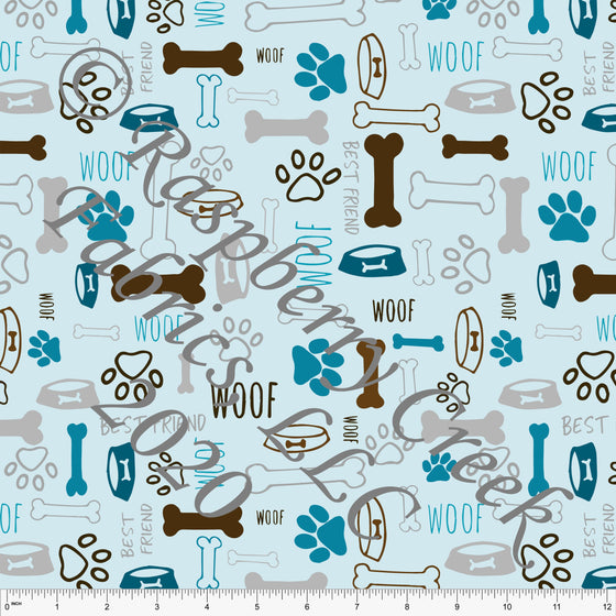 Blue Teal Brown and Grey Dog Print Double Brushed Poly Knit Fabric, By Elise Peterson for CLUB Fabrics - Raspberry Creek Fabrics