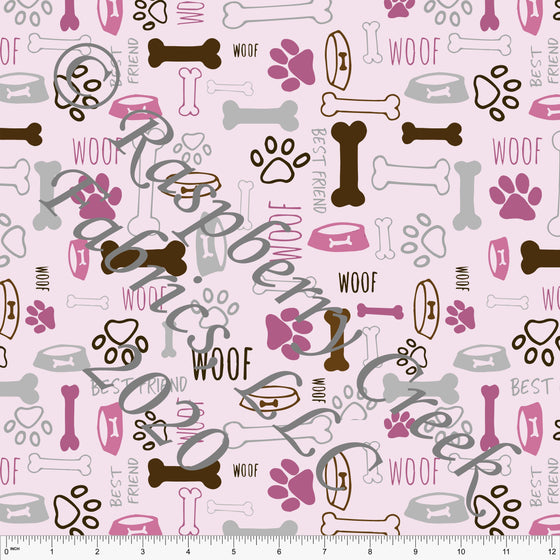 Pink Magenta Brown and Grey Dog Print Double Brushed Poly Knit Fabric, By Elise Peterson for CLUB Fabrics - Raspberry Creek Fabrics