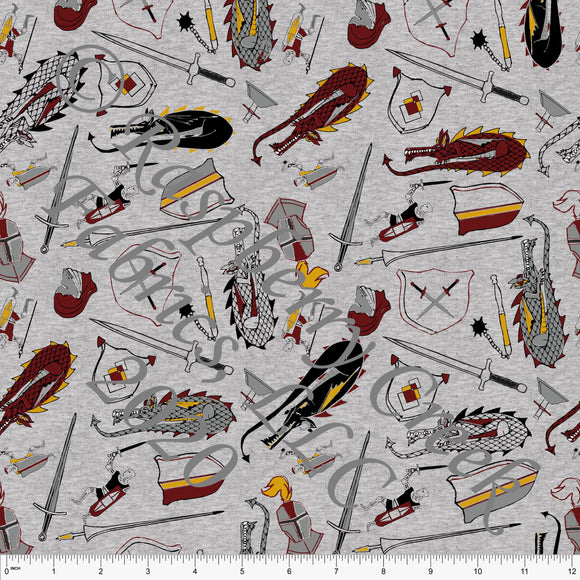 Burgundy Mustard and Tonal Grey Dragons and Knights on Heathered Grey, Dragons and Knights by Elise Peterson for Club Fabrics - Raspberry Creek Fabrics
