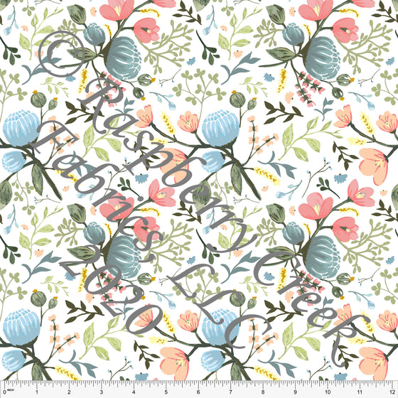Peach Salmon Sage Yellow and Light Blue Floral Print Double Brushed Poly Knit Fabric, By Elise Peterson for CLUB Fabrics - Raspberry Creek Fabrics