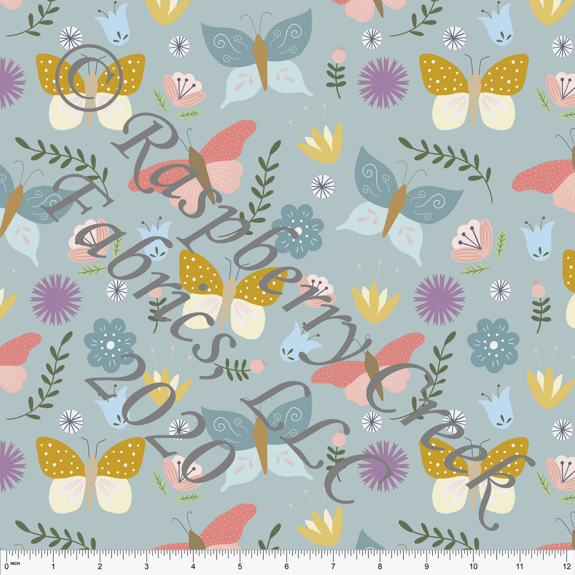 Dusty Blue Salmon Mustard and Lilac Butterfly Floral Print Double Brushed Poly Knit Fabric, By Stephani MacLeod for CLUB Fabrics - Raspberry Creek Fabrics