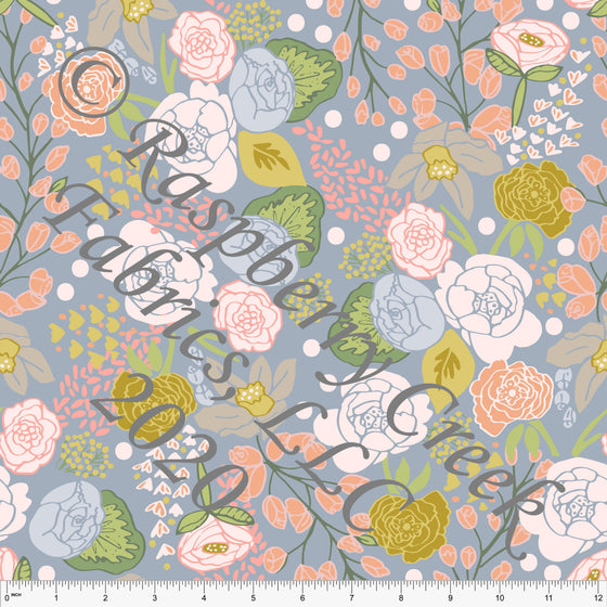 Dusty Blue Coral Mustard Pink and Green Floral Print Double Brushed Poly Knit Fabric, By Kimberly Henrie for CLUB Fabrics - Raspberry Creek Fabrics
