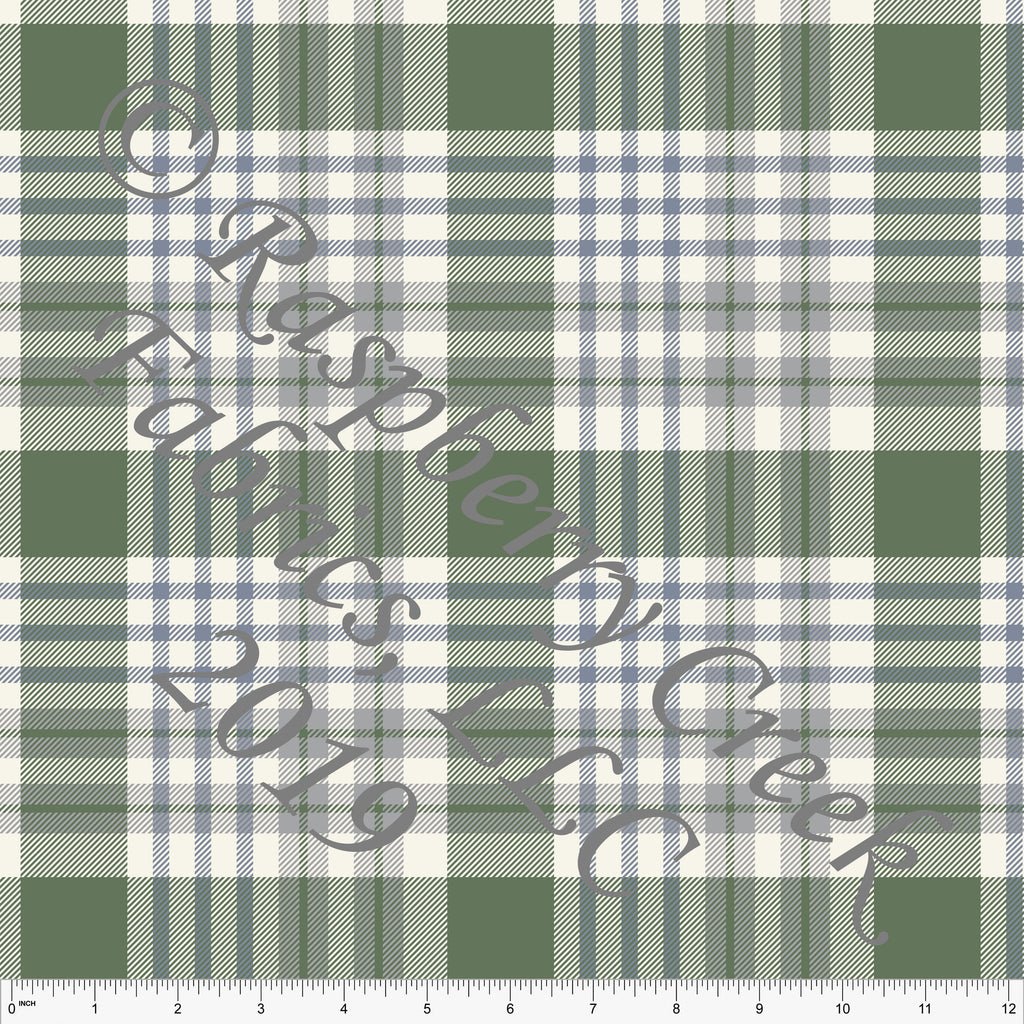 Dusty Blue Green Grey and Cream Plaid Double Brushed Poly for CLUB Fabrics - Raspberry Creek Fabrics