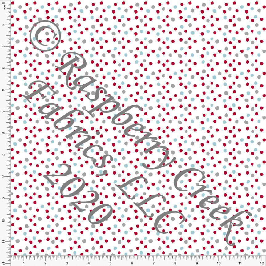 Red Grey and Light Teal Random Polka Dot, Made In The USA for Club Fabrics - Raspberry Creek Fabrics Knit Fabric