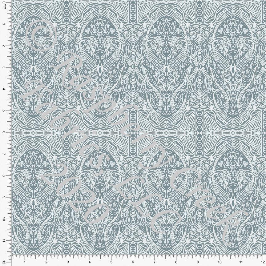 Dusty Blue Vintage Lace Look Print Double Brushed Poly Knit Fabric, Spring Lace By Courtney Graziano for CLUB Fabrics - Raspberry Creek Fabrics Knit Fabric
