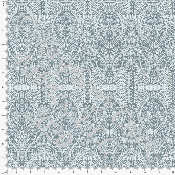 Dusty Blue Vintage Lace Look Print Double Brushed Poly Knit Fabric, Spring Lace By Courtney Graziano for CLUB Fabrics Raspberry Creek Fabrics