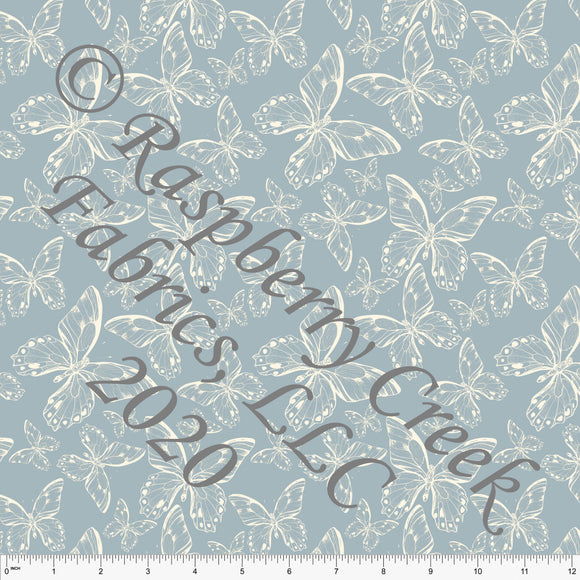 Dusty Blue and Cream Tossed Butterfly Print Stretch Crepe, CLUB Fabrics - Raspberry Creek Fabrics