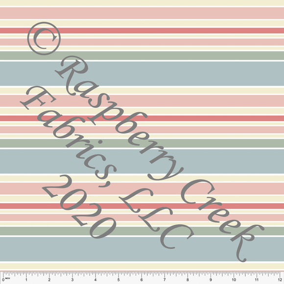 Sage Dusty Blue Dusty Pink and Cream Multi Stripe Print 4 Way Stretch Double Brushed Poly Knit Fabric, CLUB Fabrics