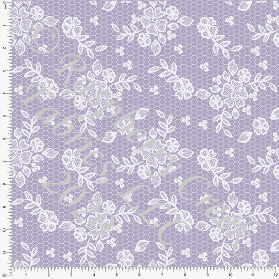 Tonal Dusty Lilac Lace Look Print Double Brushed Poly Knit Fabric, Spring Lace for CLUB Fabrics Raspberry Creek Fabrics