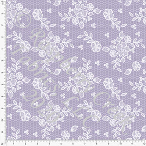 Tonal Dusty Lilac Lace Look Print Double Brushed Poly Knit Fabric, Spring Lace for CLUB Fabrics - Raspberry Creek Fabrics Knit Fabric