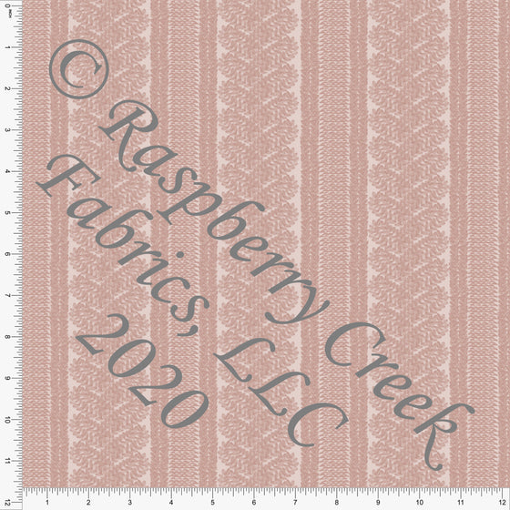 Dusty Pink Cable Knit Sweater Stripe Print Double Brushed Poly Knit Fabric, Sweater Weather by Kelsey Shaw for CLUB Fabrics - Raspberry Creek Fabrics