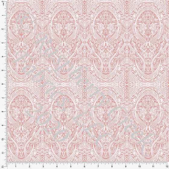 Dusty Pink Vintage Lace Look Print Double Brushed Poly Knit Fabric, Spring Lace By Courtney Graziano for CLUB Fabrics - Raspberry Creek Fabrics
