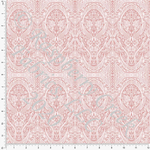 Dusty Pink Vintage Lace Look Print Double Brushed Poly Knit Fabric, Spring Lace By Courtney Graziano for CLUB Fabrics Raspberry Creek Fabrics