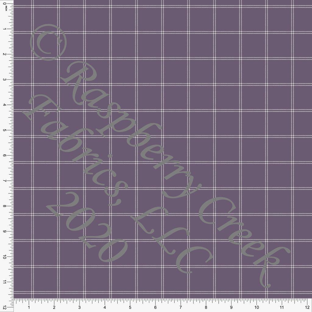 Dusty Purple and Off White Windowpane Plaid Print Double Brushed Poly Knit Fabric, CLUB Fabrics - Raspberry Creek Fabrics