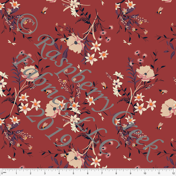 Dusty Red Purple Black and Cream Floral Print Stretch Crepe, CLUB Fabrics, 1 Yard - Raspberry Creek Fabrics