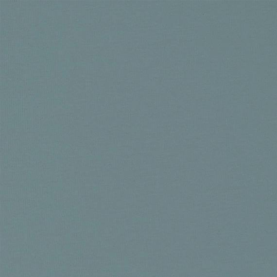 Solid Dusty Teal Blue Double Brushed Poly Spandex Knit - Raspberry Creek Fabrics