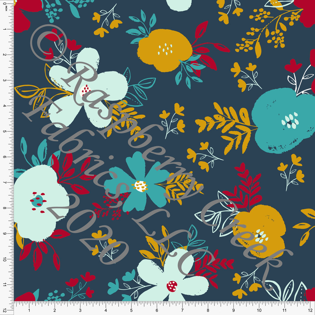 Deep Teal Mustard Red and Mint Floral Print Double Brushed Poly Knit Fabric, By Kimberly Henrie for CLUB Fabrics - Raspberry Creek Fabrics