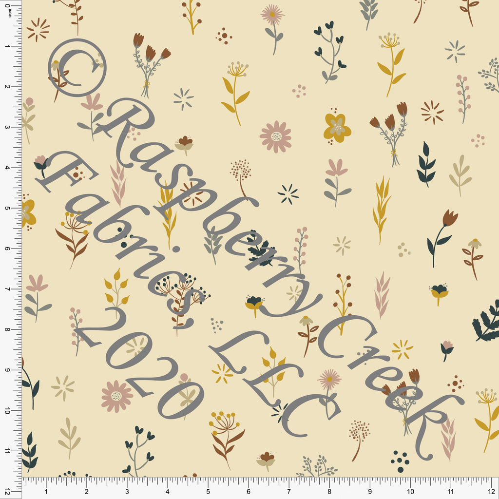 Cream Mustard Rust Hunter Green and Dusty Pink Wildflower Print Double Brushed Poly Knit Fabric, Sweater Weather by Kelsey Shaw for CLUB Fabrics - Raspberry Creek Fabrics