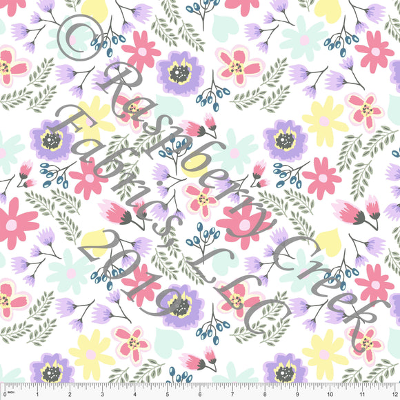 Salmon Lilac Mint and Teal Easter Floral 4 Way Stretch Jersey Knit, Easter for CLUB Fabrics