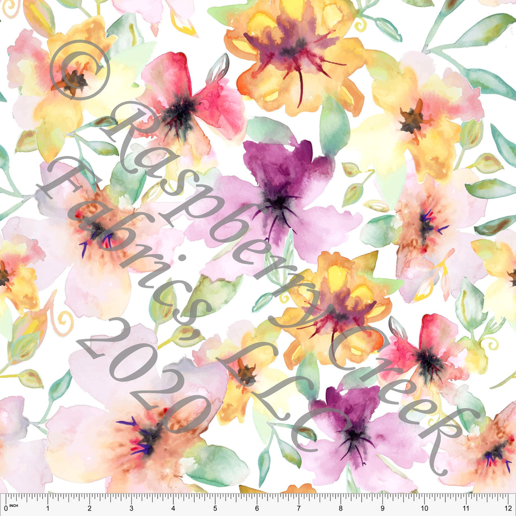 Magenta Pink Orange Peach Yellow and Green Watercolor Lily Floral By Elise Peterson for Club Fabrics - Raspberry Creek Fabrics