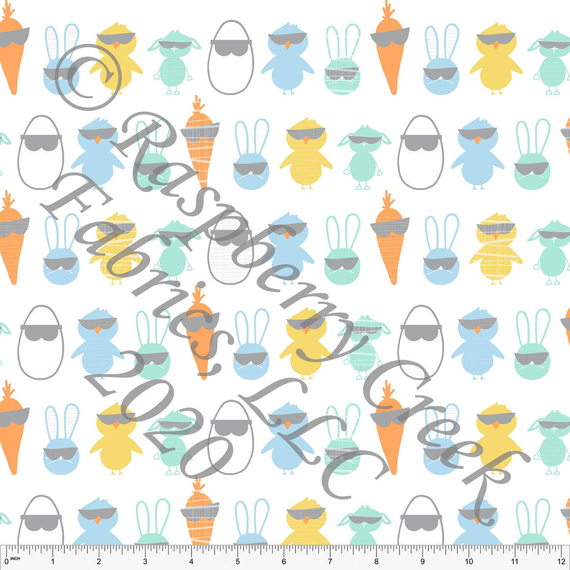 Light Blue Mint Grey Yellow and Orange Cool Easter Friends By Elise Peterson for Club Fabrics - Raspberry Creek Fabrics