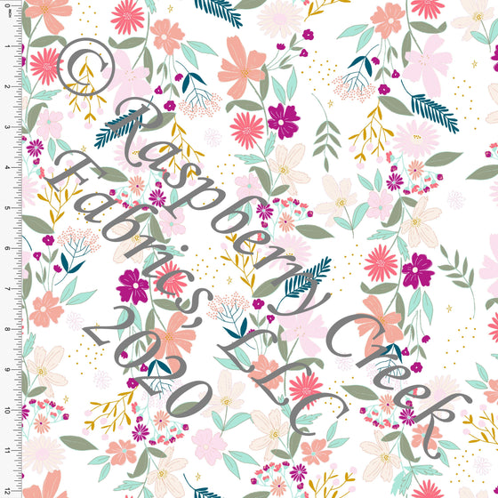 Magenta Mustard Salmon Mint and Sage Easter Vine Floral, By Kimberly Henrie for Club Fabrics - Raspberry Creek Fabrics