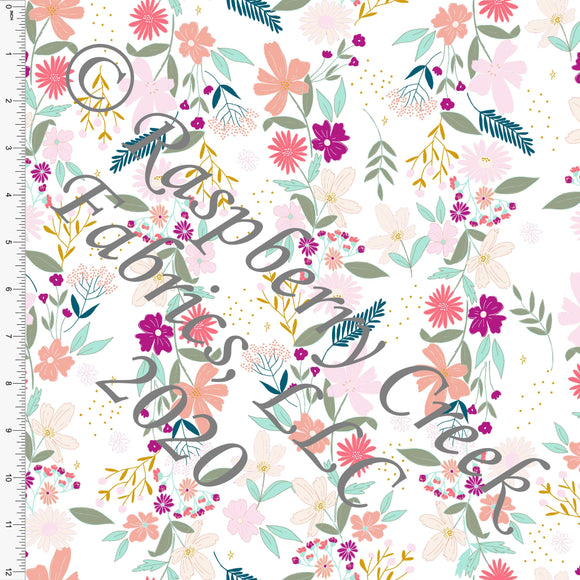 Magenta Mustard Salmon Mint and Sage Easter Vine Floral, By Kimberly Henrie for Club Fabrics CLUB
