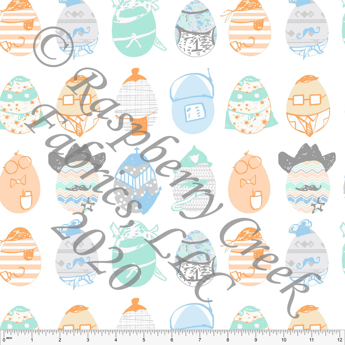 Grey Light Blue Mint and Orange Character Eggs By Elise Peterson for Club Fabrics - Raspberry Creek Fabrics