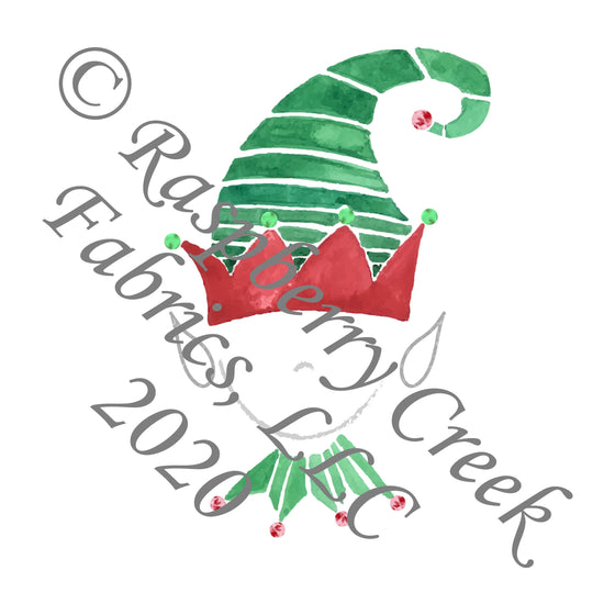 Kelly Green and Red Elf Panel, Ho Ho Ho by Elise Peterson for Club Fabrics - Raspberry Creek Fabrics