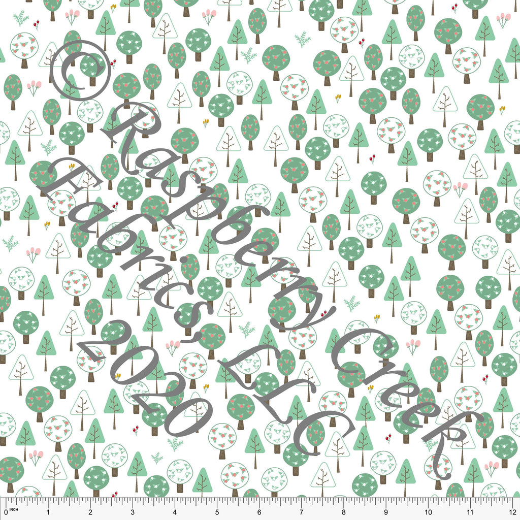 Sage and Brown Tonal Fairy Tale Trees, Fairy Tales by Elise Peterson for Club Fabrics - Raspberry Creek Fabrics