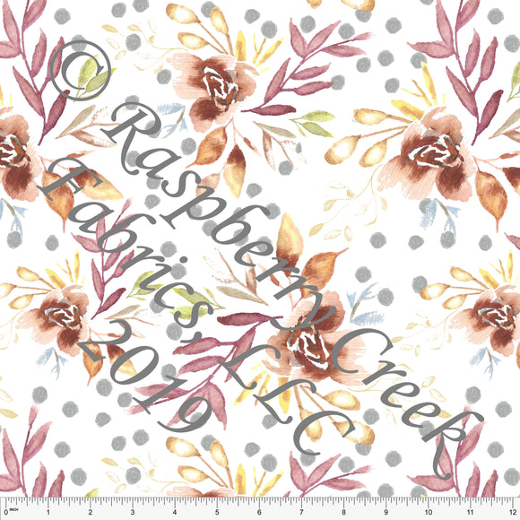 Burgundy Rust Mustard and Grey Polka Dot Floral by Elise Peterson for Club Fabrics - Raspberry Creek Fabrics