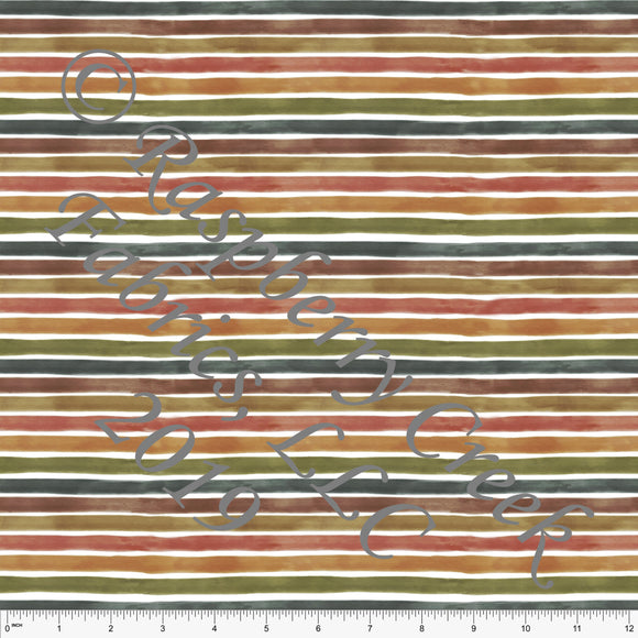 Rust Hunter Green and Warm Camel Fall Watercolor Stripes, By Kelsey Shaw for Club Fabrics - Raspberry Creek Fabrics