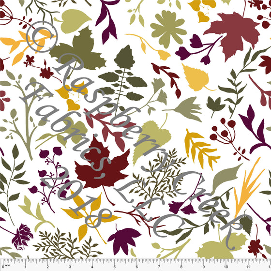 Burgundy Olive Mustard and Eggplant Leaf Silhouette 4 Way Stretch Jersey Knit Fabric, Fall Botanical by Elise Peterson for Club Fabrics